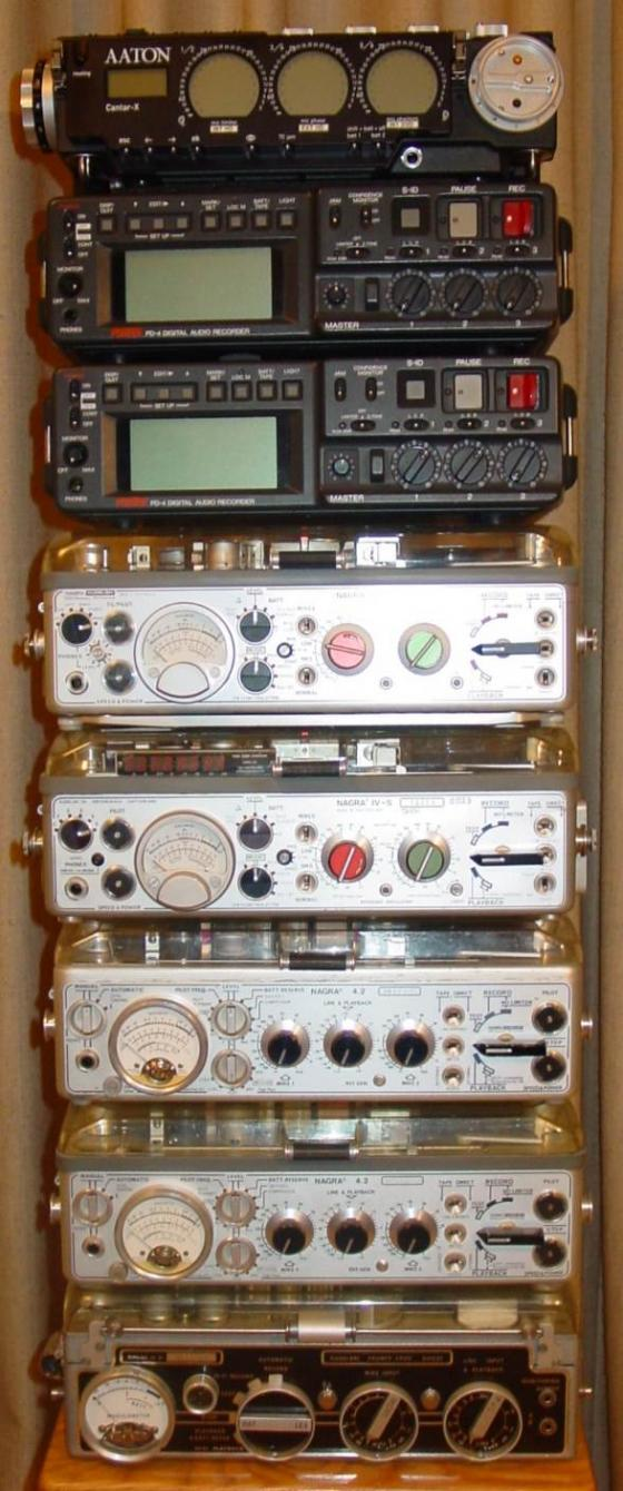 Nico's tower of recorders past and present consisting of a Nagra III, 2 x Nagra 4.2, Nagra 4S (TC retrofit), Narga 4STC, 2 x Fostex PD4 and his Aaton Cantar-X.